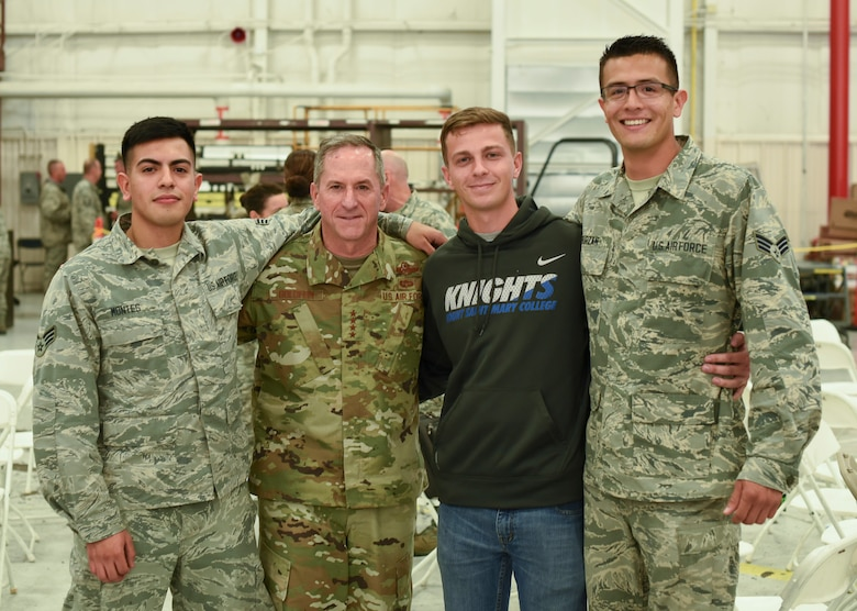 Air Force Chief of Staff Gen. David L. Goldfein visits with Reserve Citizen Airmen and their families during the 301st Fighter Wing's annual Family Day, Oct. 13, 2018, at Naval Air Station Fort Worth Joint Reserve Base, Texas. This event is held annually to thank families and friends for their support to the wing. Along with the games, the event offered food, prize giveaways and resources for military families. (U.S. Air Force photo by Tech. Sgt. Charles Taylor)