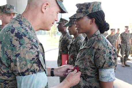 USAG CAMP HUMPHREYS, Republic of Korea – Maj. Gen. Patrick J. Hermesmann (left), commander of U.S. Marine Corps Forces Korea, awards Cpl. Daejahne Williams, MARFORK G-1 Outbound/Inbound non-commissioned officer, the Good Conduct Medal here, Oct. 4. MARFORK awarded Williams the medal for demonstrating the character expected of a Marine and within the highest standards of Marine Corps ethos. (U.S. Marine Corps photo by Staff Sgt. Anthony Kirby/Released)