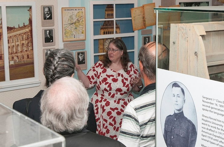 A historian speaks to the exhibits at the National Cryptologic Museum.