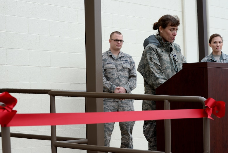 Col. Melissa Cunningham, 67th Cyberspace Wing commander, addresses attendees during a ribbon cutting ceremony at Joint Base San Antonio-Lackland Medina Annex, Texas, Oct. 15, 2018. The ceremony was hosted to welcome the 346th Test Squadron, Unified Capabilities Assessment Program team to its new home. The UCAP team provides Department of Defense Information Network Approved Products List testing of communications equipment before the equipment can be connected to the DODIN. UCAP is the only Air Force lab that provides DODIN APL testing and results are accepted DOD-wide. (U.S. Air Force photo by Tech. Sgt. R.J. Biermann)