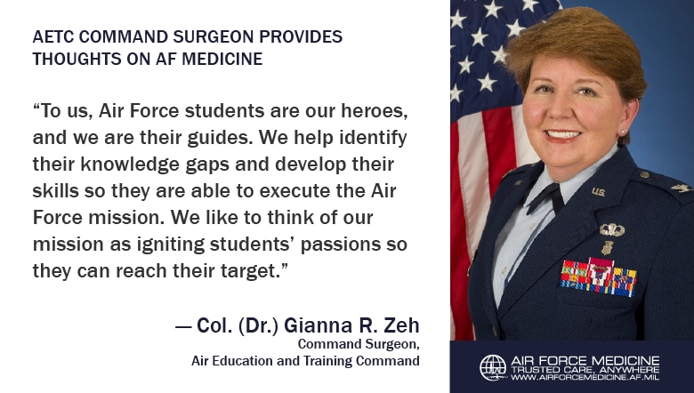 As Air Force Medicine continues to go through organizational change, the MAJCOM Surgeons are hard at work, playing a pivotal role in the Air Force's ability to stay on the leading edge of Trusted Care healthcare. This month we sat down with Air Education and Training Command's Surgeon, Col. (Dr.) Gianna R. Zeh, to discuss ongoing improvements, how medical Airmen can succeed, and her personal journey as a leader. (U.S. Air Force illustration)
