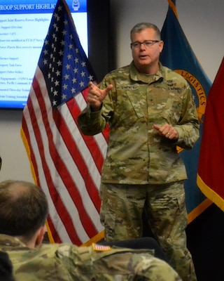 DLA Troop Support Commander Army Brig. Gen. Mark Simerly addresses the Joint Reserve Force at Troop Support's first JRF town hall event Oct. 12 in Philadelphia.