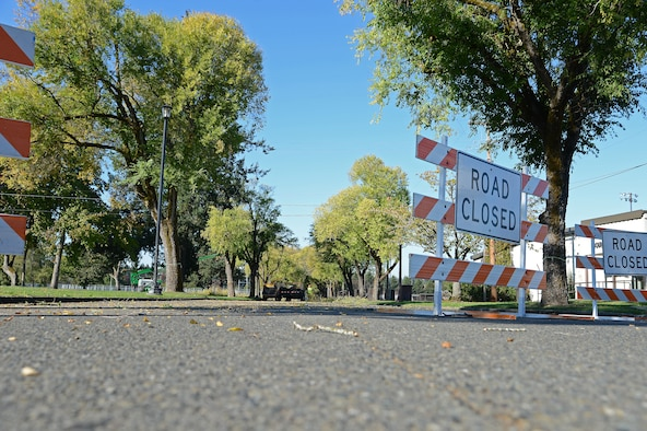 Members of Directorate of Public Works closed parts of Col. Joe Jackson Blvd. during a Historical Reset project Oct. 12, 2018 on McChord Field, Joint Base Lewis McChord, Wash.