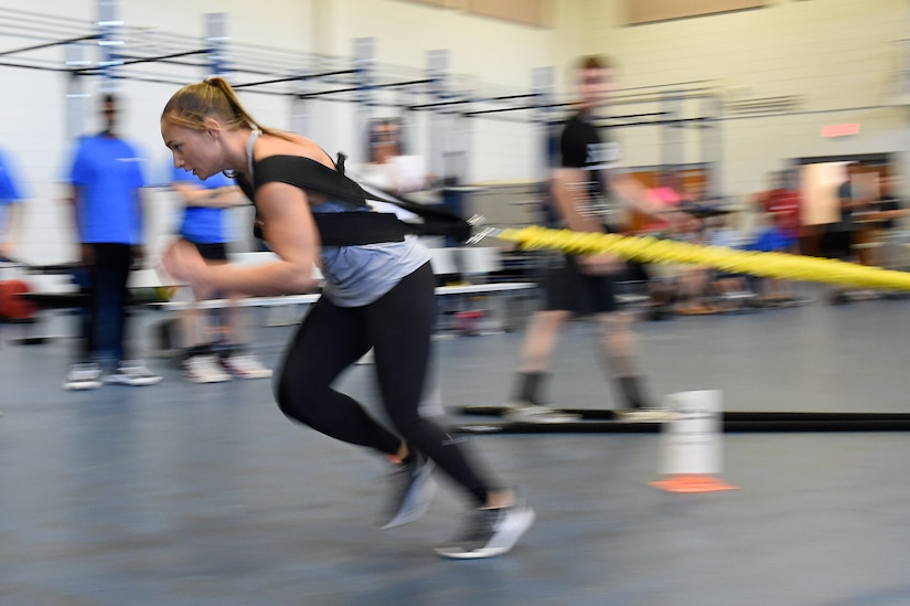 Tech. Sgt. Leanne Hardin, a supply supervisor assigned to the 628th Logistics Readiness Squadron, sprints while attached to a tether during the Alpha Warrior regional competition Oct. 13, 2018, at Joint Base Charleston, S.C.