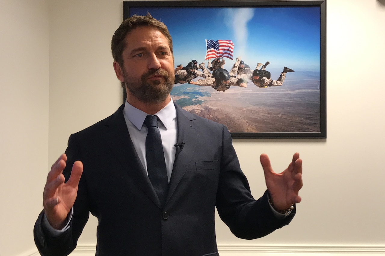 Actor Gerard Butler speaks for a video.