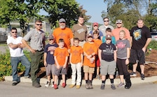 Local Boy Scout Pack 503 joined U.S. Army Corps of Engineers Nashville District Park Rangers for a National Public Lands Day event Oct. 10, 2018 to mulch flower beds, trim pollinator plants and pick up trash at Cheatham Lake in Ashland City, Tenn. (USACE photo by Dina Henninger)