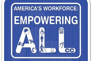 """The U.S. Department of Labor developed the theme for this year's National Disability Employment Awareness Month, """"America's Workforce: Empowering All.""""  The DEOMI design team watermarked the image of the International Symbol of Access, also known as the (International) Wheelchair Symbol, as the backdrop of the poster which consists of a blue square overlaid in white with an image of a person in a wheelchair.   The theme is highlighted in white letters """"America's Workforce: Empowering All."""" Within the word ALL are international icons representing different types of disabilities. Congress originally declared the first week of October as """"National Employ the Physically Handicapped Week"""" in 1945.   Later, in 1962, the observance dropped the word """"physically"""" to acknowledge that not all disabilities are physical. Federal legislature expanded the observance to a month in 1988, and officially changed the name to National Disability Employment Awareness Month."""