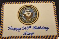 IMAGE: Dahlgren celebrates Navy's 243rd Birthday. Cake is pictured.