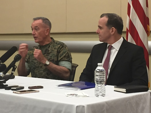 Marine Corps Gen. Joe Dunford, the chairman of the Joint Chiefs of Staff, and Brett McGurk, the U.S. special envoy for the global coalition to defeat the Islamic State of Iraq and Syria, brief the press at the Counter Violent Extremist Organization Chiefs of Defense Conference held at Joint Base Andrews, Md.