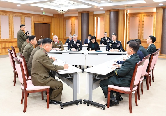The first session of a trilateral consultation body between South and North Korea and the United Nations Command (UNC) opens at the truce village of Panmunjom Tuesday October 16, 2018 to discuss ways to disarm the Joint Security Area (JSA),.