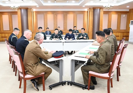 The first session of a trilateral consultation body between South and North Korea and the United Nations Command (UNC) opens at the truce village of Panmunjom Tuesday October 16, 2018 to discuss ways to disarm the Joint Security Area (JSA).