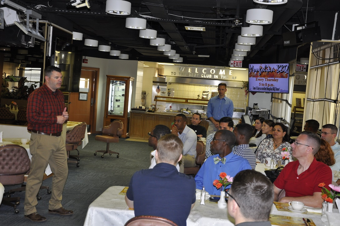 39th Air Base Wing vice commander briefs members of the 425th Air Base Squadron