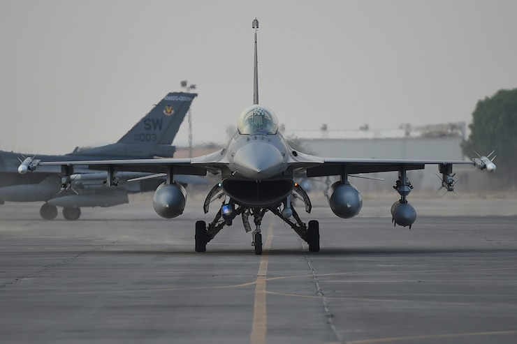 An F-16 lands at an undisclosed location.