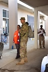 Sgt. Fraicor Terrero, a heavy vehicle driver assigned to Company A, 53rd Brigade Support Battalion, provides security to an American Red Cross shelter in Panama City, Fla, Oct. 15, 2018.