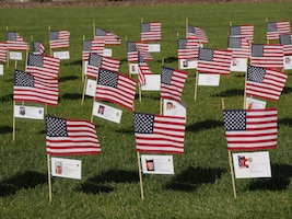 More than 760 American flags affixed with information of fallen California service members are displayed at the Sacramento Valley National Cemetery in Dixon, Calif., Oct. 13, 2018. The event consists of a 150-mile run through 23 towns. At every mile, runners placed American flags, known as 'hero markers,' in the ground to honor California service members who made the ultimate sacrifice since 9/11. (Courtesy Photo)