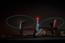 UNDISCLOSED LOCATION, MIDDLE EAST – An MV-22 Osprey with Marine Medium Tilt-rotor Squadron 164 loaded with Marines attached to 3rd Battalion 7th Marine Regiment prepare to execute a tactical recovery of aircraft and personnel (TRAP) exercise July 8, 2018. The exercise simulated the rescue of two downed pilots in a night time environment. (U.S. Marine Corps photo by Cpl. Gabino Perez)