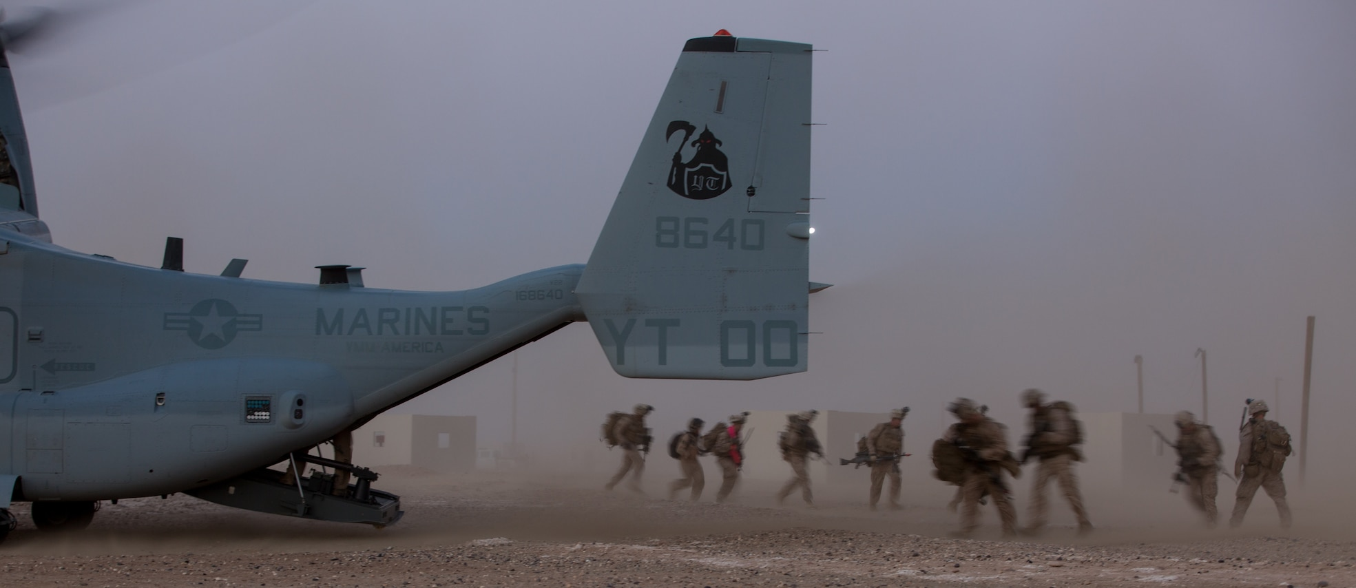 UNDISCLOSED LOCATION, SOUTHWEST ASIA – U.S. Marines with India Company 3rd Battalion, 7th Marine Regiment, 1st Marine Division attached to Special Purpose Marine Air-Ground Task Force, Crisis Response-Central Command board an MV-22 Osprey during a tactical recovery of aircraft and personnel exercise August 19, 2018. The training exercise provided Marines the opportunity to enhance combat readiness and crisis response skills. (U.S. Marine Corps photo by Cpl. Teagan Fredericks)