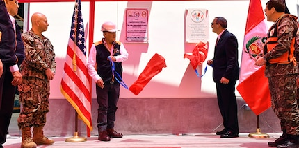 The Ambassador of the United States in Peru, Krishna R. Urs, and the and the Director of the Peruvian Civil Defense Institute, Brigadier General Jorge Chávez, cut the ribbon in a ceremony in Peru.