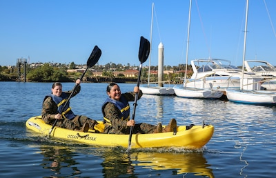 Marines of Headquarters and Service Battalion compete in a kayak race during the Atlas Games at Marine Corps Recruit Depot San Diego, Nov. 22.