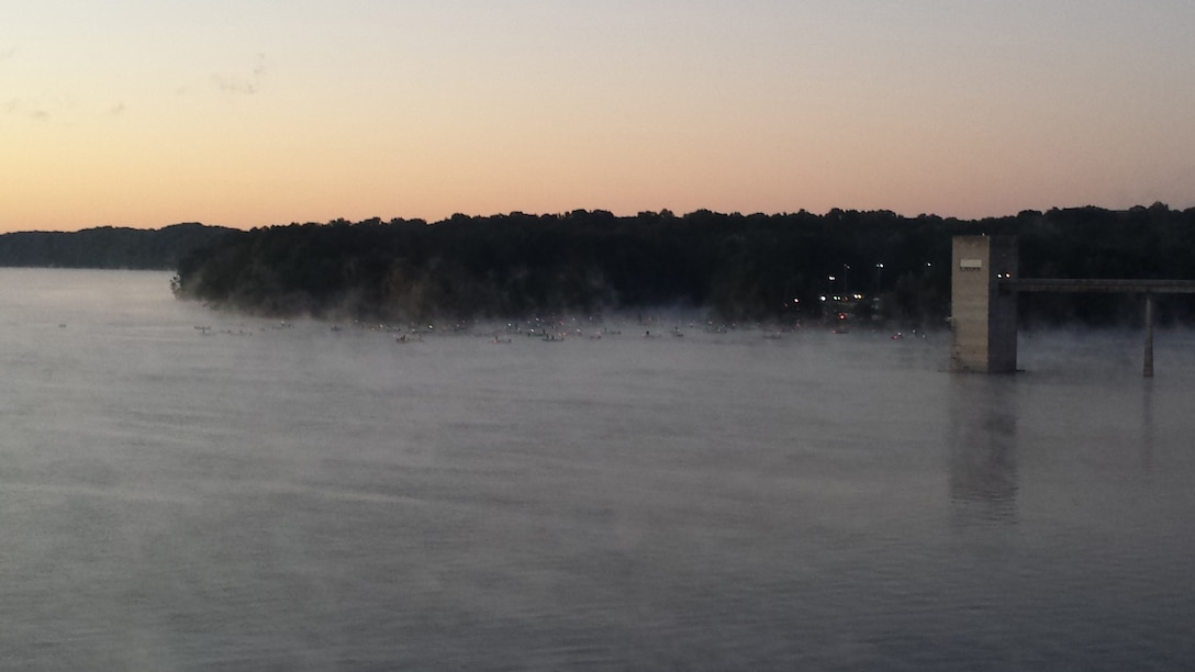 A foggy morning takeoff for fishermen at Barren River Lake