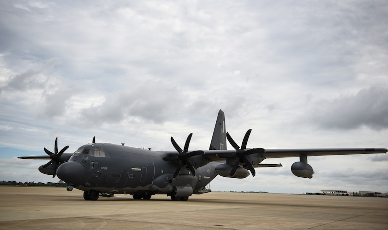 A U.S. Air Force HC-130J Combat King II from the 71st Rescue Squadron prepares to taxi at Joint Base Langley-Eustis, Virginia, Oct. 17, 2018. The 71st RQS is supporting Tyndall Air Force Base, Florida, recovery efforts. (U.S. Air Force photo by Staff Sgt. Carlin Leslie/Released)