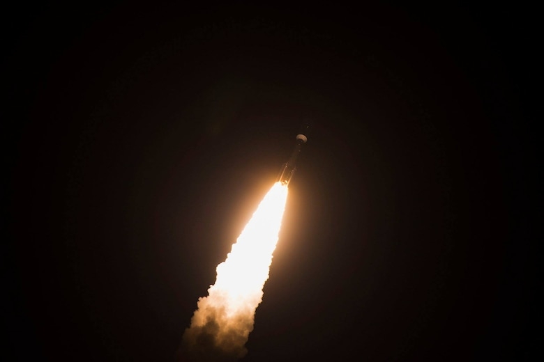 United Launch Alliance's Atlas V AEHF-4 rocket successfully launched October 17, 2018 from Cape Canaveral Air Force Station, Fla. This was the fourth communications satellite in the Advanced Extremely High Frequency (AEHF) series for the U.S. Air Force. (U.S. Air Force photo by Airman 1st Class Dalton Williams)