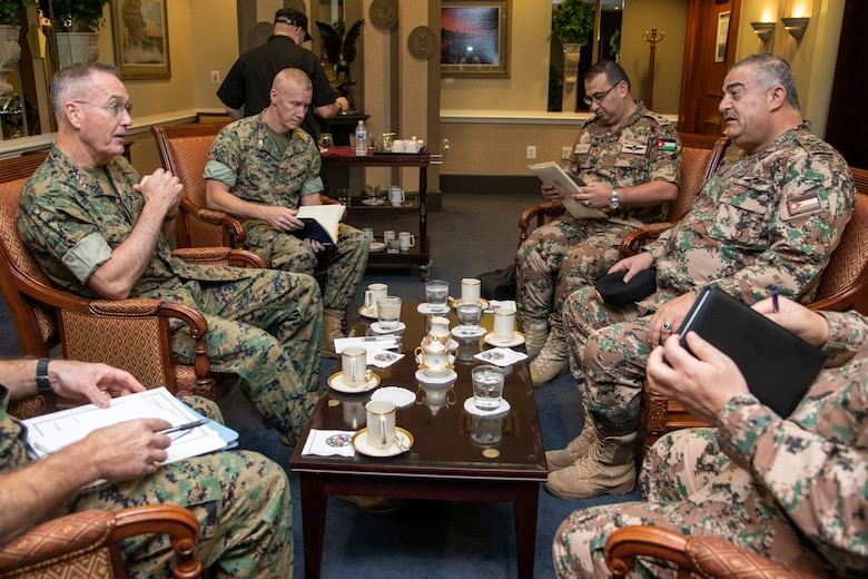Chairman of the Joint Chiefs of Staff Gen. Joe Dunford meets with Jordanian Chairman of the Joint Chiefs of Staff Mahmoud Abdul Haleem Freihat today in Washington D.C., Oct. 17.