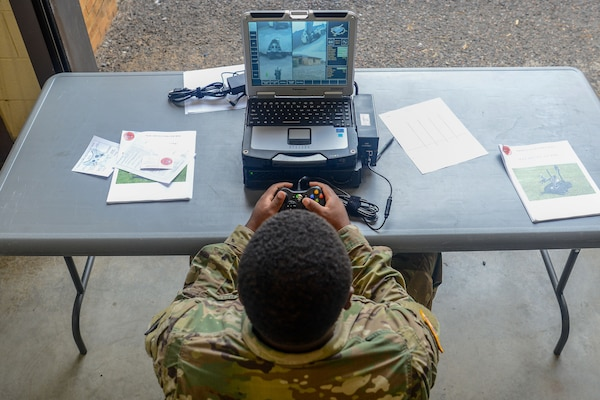 U.S. Army Spc. Elijah Clinton with the 1221st Engineer Clearance Company, South Carolina National Guard, conducts route clearance training using the Talon IV Reset robotic vehicle at their Armory in Graniteville, S.C., Oct. 17, 2018, which is being fielded to the unit as they prepare for an upcoming deployment in 2019.