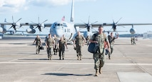 U.S. Marines with Marine Aerial Refueler Transport Squadron (VMGR) 252 participate in a homecoming ceremony on Marine Corps Air Station Cherry Point, Oct. 3, 2018.