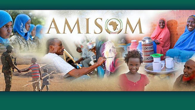 Artist's digital design using photo portaying the group's mission in Somalia from AMISOM's facebook page https://www.facebook.com/amisom.somalia
