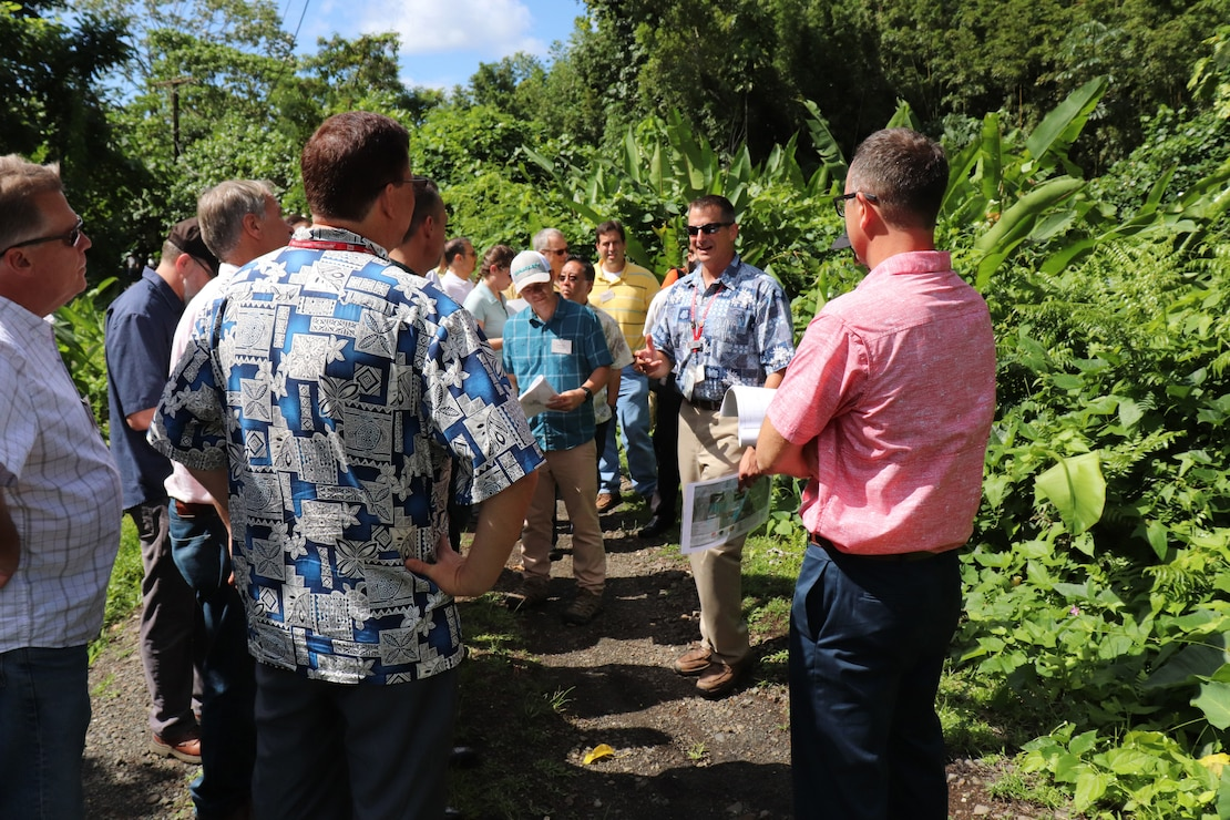 HONOLULU, Hawaii (Oct. 16, 2018) -- Ala Wai Flood Mitigation Project Manager Jeff Herzog (second from right) explains some of the natural and cultural sensitivities for the proposed retention basin in the Waiakeakua Stream area to State, City & County of Honolulu officials, and USACE enterprise personnel as part of the three-day Ala Wai Watershed Flood Mitigation Design Charrette.