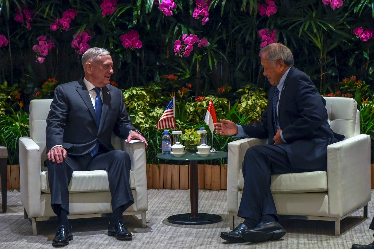 Defense Secretary James N. Mattis meets with Singaporean Defense Minister Ng Eng Hen
