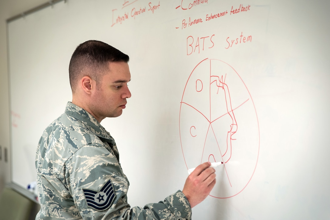 Tech. Sgt. Michael Tryon, non-commissioned officer in charge, Aeromedical Operational Psychology at the U.S. Air Force School of Aerospace Medicine, Wright-Patterson Air Force Base, Ohio, prepares to teach a course for Integrated Operational Support mental health care providers, technicians and social workers, Aug. 30, 2018. The IOS mental health care training program prepares providers going into IOS positions, focusing on how to support the entire squadron to improve performance. (U.S. Air Force photo by Richard Eldridge)