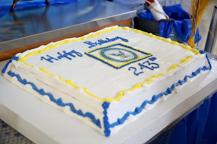 A birthday cake is displayed during a celebration of the U.S. Navy's 243rd birthday aboard Marine Corps Air Station Beaufort, Oct. 17. During the celebration, Sailors, Marines and civilians honored the history and traditions of the Navy while bonding over.