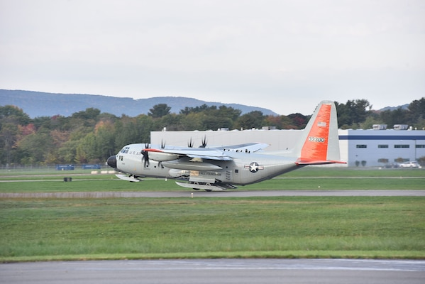 An LC-130 assigned to the New York Air National Guard's 109th Airlift Wing leaves Stratton Air National Guard Base on Sept. 16, 2018, en route to McMurdo Sound, Antarctica. The 109th Airlift Wing flies the only ski-equipped planes in the U.S. military which can land on snow and ice. The 109th provides support for National Science Foundation research on the continent as part of the U.S. militaries Operation Deep Freeze.