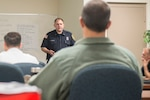 Robert Conklin, an Air Force fire and EMS instructor trainer, teaches an Emergency Medical Technician Instructor course Oct. 16, 2018, Joint Base San Antonio-Lackland, Texas. The course is a part of the Air Force Fire Chief's recent directive for AF firefighters to perform to the emergency medical technician level, and will enable the graduates to provide both refresher and initial training to certify others as EMTs.