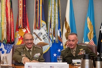 Marine Corps Gen. Joe Dunford, chairman of the Joint Chiefs of Staff, meets with Spain's Chief of Defence Gen. Fernando Alejandre Martinez at the Pentagon, Oct. 18, 2018.