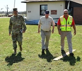 Col. Sebastien P. Joly, U.S. Army Corps of Engineers Mobile District commander, and Wynne Fuller, chief of Operations Division for Mobile District, visited the USACE Resident Office at Tyndall Air Force Base, on Oct. 17, 2018 in Panama City, Fla.