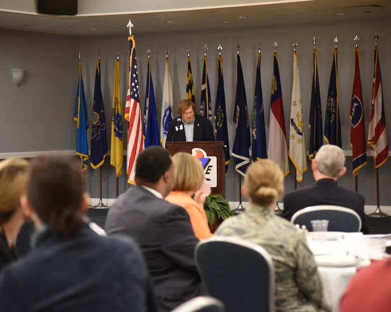 Rufus Ward, Base Community Council treasurer, explains the importance of the BCC to council members and Airmen Oct. 11, 2018, during a BCC luncheon at the Club on Columbus Air Force Base, Mississippi. The BCC gives local residents of Columbus, Mississippi, and Columbus AFB a chance to interact with each other and find out how they impact each other. (U.S. Air Force photo by Melissa Doublin)