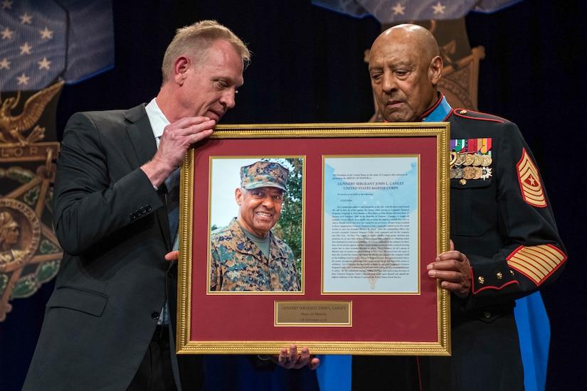 Deputy Defense Secretary Patrick M. Shanahan and Marine Corps Sgt. Maj. John L. Canley
