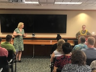 There wasn't a seat left in the room as staff were honored to have Honolulu District USACE District Council Shivaun White introduce District Commander Lt. Col. Kathryn P. Sanborn during the Aug. 29, District's Women's Equality Event.