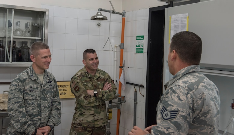 39th Logistics Readiness Squadron fuels laboratory NCOIC briefs the 39th Air Base Wing commander and command chief