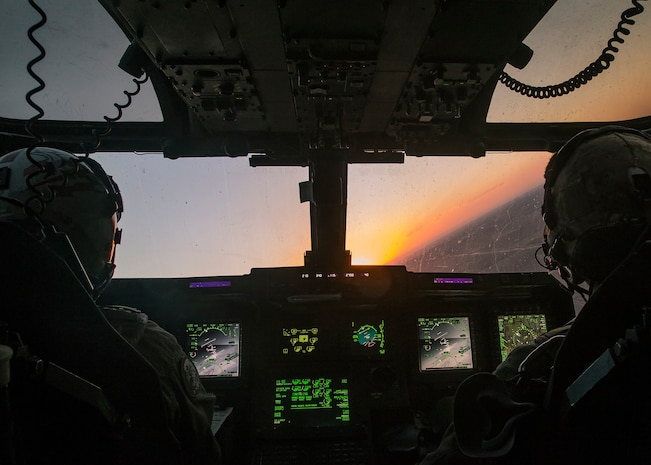 U.S. Marine Corps pilots assigned to Marine Aviation Weapons and Tactics Squadron One, fly an MV-22B Osprey aircraft during a tail gunnery certification in support of Weapons and Tactics Instructor course 1-19 in Yuma, Arizona, Sept. 29, 2018. WTI is a seven-week training event hosted by MAWTS-1 which emphasizes operational integration of the six functions of Marine Corps aviation in support of a Marine air-ground task force. WTI also provides standardized advanced tactical training and certification of unit instructor qualifications to support Marine aviation training and readiness, and assists in developing and employing aviation weapons and tactics.
