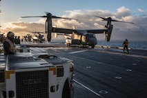 U.S. Marine Corps V-22 Osprey and CH-53 Sea Stallion prepare for takeoff aboard USS Iwo Jima Oct 17, in preparation of exercise Trident Juncture 2018. Trident Juncture is a planned exercise to enhance U.S. and NATO partners' and Allies' ability to work together collectively and conduct military operations under challenging conditions.