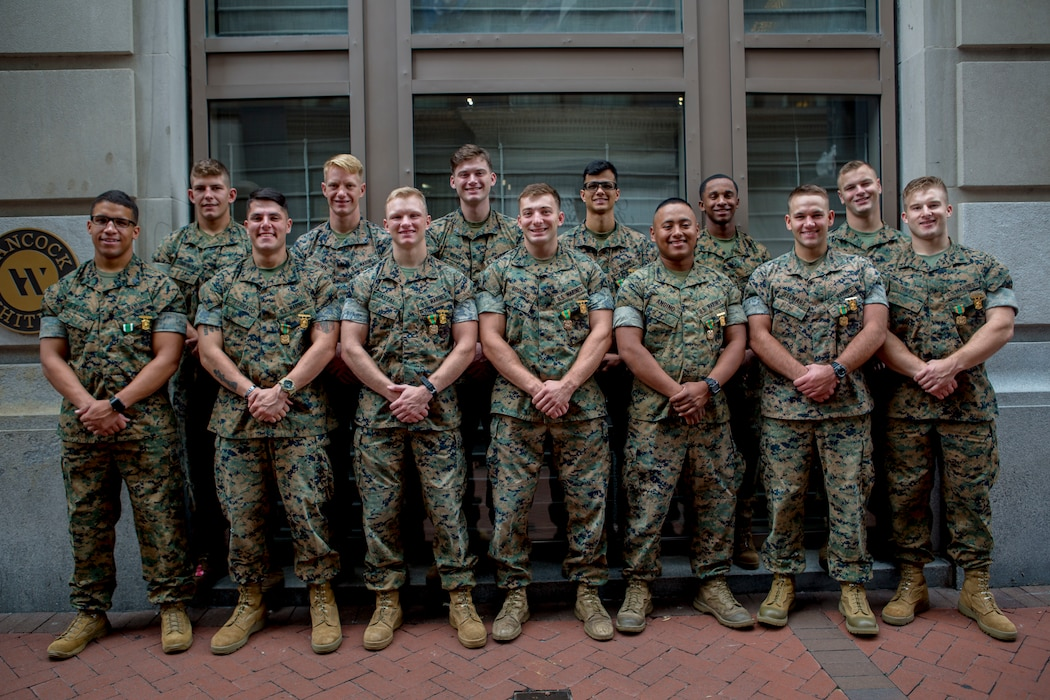 Marines with 3rd Battalion, 23rd Marine Regiment, pose for a photo at the AC Hotel in New Orleans, Oct 17, 2018, after being awarded for their work during the 2018 Super Squad Competition.