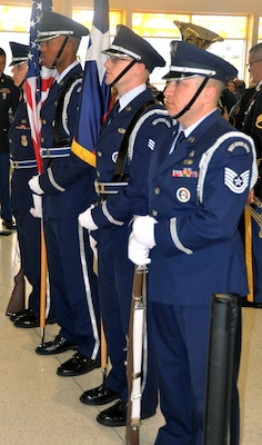 The 502nd Air Base Wing Honor Guard prepares to welcome and honor World War II veterans at the start of a sendoff ceremony at the San Antonio International Airport Oct. 17, which saw 40 WWII veterans take off for a trip to New Orleans to visit the National World War II Museum. The Soaring Valor program, sponsored by the Gary Sinise Foundation, helped send the veterans and 40 high school Student companions from Dallas, to the museum.