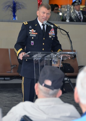 Lt. Gen. Jeffrey Buchanan, commanding general, U.S. Army North (Fifth Army) from Joint Base San Antonio-Fort Sam Houston, speaks to the gathered World War II veterans and their high school companions during a sendoff ceremony at the San Antonio International Airport Oct. 17 which saw 40 WWII veterans take off for a trip to New Orleans to visit the National World War II Museum. The Soaring Valor program, sponsored by the Gary Sinise Foundation, helped send the veterans and 40 high school Student companions from Dallas, to the museum.