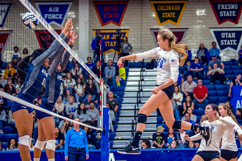 Elizabeth Pennington, U.S. Air Force Academy cadet, spikes the ball during a volleyball match against Nevada Oct. 13, 2018 at the academy in Colorado Springs, Colo. Air Force defeated Nevada 3-2. (U.S. Air Force photo by Trevor Cokley)