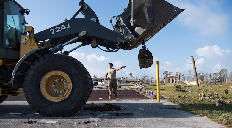 Airmen from the 823rd RED HORSE Squadron, Hurlburt Field, Fla., and the 635th Material Maintenance Squadron, Holloman Air Force Base, N.M., construct bare-bones shelters Oct. 15, 2018, as part of a multi-phased plan to reconstruct Tyndall Air Force Base, Fla., following the aftermath of Hurricane Michael. Multiple major commands have mobilized relief assets in an effort to restore operations after the hurricane caused catastrophic damage to the base. (U.S. Air Force photo by Senior Airman Keifer Bowes)