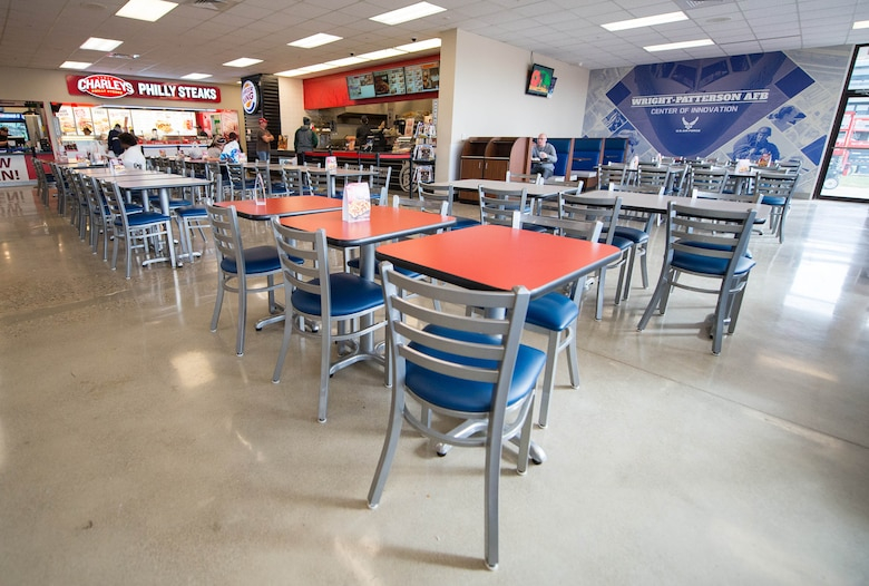 Wright-Patterson's Exchange Food Court received new seating and polished concrete flooring, amongst other improvements, as part of the $6.4 million renovation.